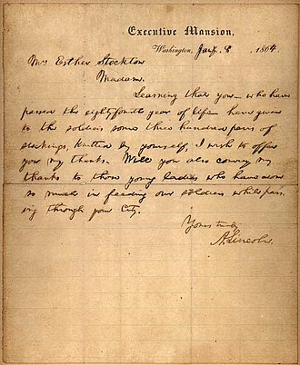 Bixby letter - Lincoln sent a similar letter to Esther Stockton in January 1864, thanking her for knitting 300 pairs of socks for Union soldiers.