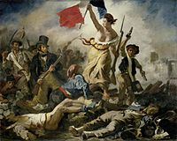 A bare-breasted woman leads a revolutionary army over a barricade, holding aloft a French flag