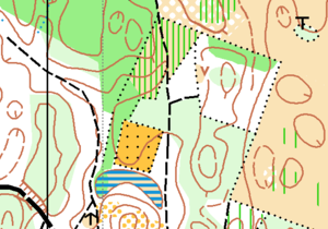 Orienteering map -  Vegetation: White colour is forest, yellow is open area, and green indicates reduced runability.