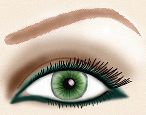 Eye liner - Dark teal eye liner along the rim of the eye