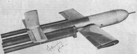 "Typical of the ""boost-glide"" type weapons, the Fairey Stooge was an armed drone aircraft flown to a collision with the target. Enzian and Schmetterling were similar in concept, design and performance. Fairey Stooge.png"