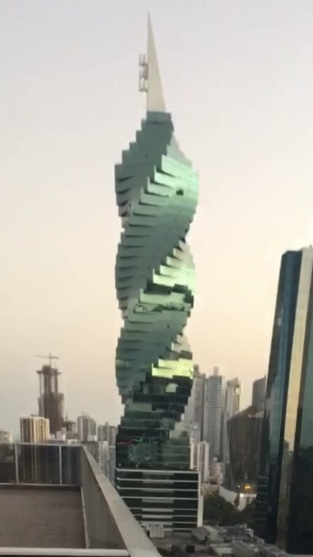 "The F&F tower, more commonly known as ""El tornillo"" or ""La torre tornillo"" meaning ""the screw"" or ""the screw tower"" Famous spiral building in panama.jpg"