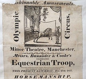 "S Bannister - A poster for the ""Olympic Circus"" and ""Equestrian Troupe"""