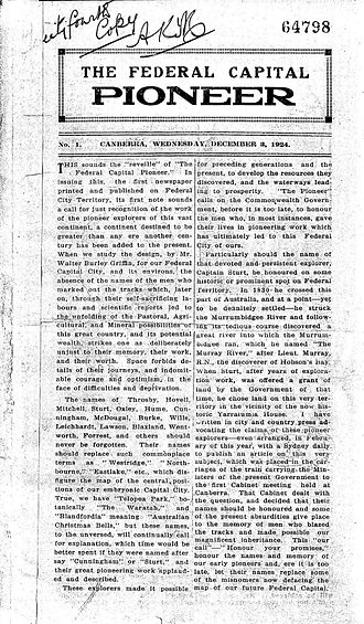 The Federal Capital Pioneer - Front page of The Federal Capital Pioneer, Wednesday 3 December 1924