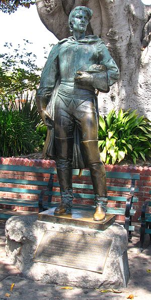 "Felipe de Neve - Statue of Felipe de Neve in the Los Angeles Plaza. The inscription reads: ""Felipe de Neve (1728-84). Governor of California 1775-82. In 1781, on orders from King Carlos III of Spain, Felipe de Neve selected a site near the River Porciuncula and laid out the town of El Pueblo de La Reina de Los Angeles, one of two pueblos he founded in Alta California."""