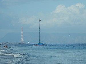Feluca in the strait of Messina
