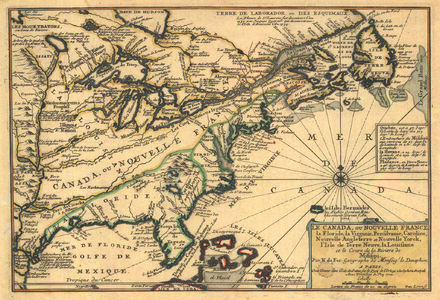 Map of Canada (New France) in 1703 Fer - Le Canada, ou Nouvelle France, la Floride, la Virginie, Pensilvanie, Caroline.png