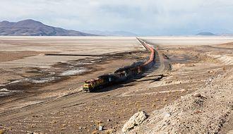 Ferrocarril de Antofagasta a Bolivia - FCAB crossing the Carcote salt flat