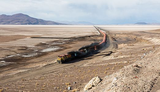 FCAB railway crossing the Carcote salt flat, southwestern Bolivia.