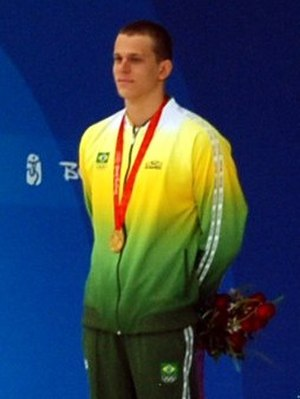 César Cielo - Cielo after winning the 50 m freestyle at the 2008 Olympics in Beijing.