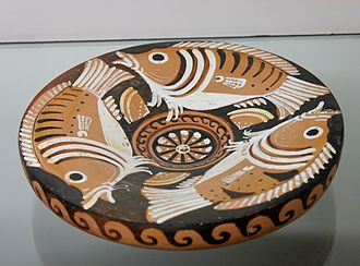 Fish plate - Three sea-perch and three limpets, Apulian red-figured fish plate, ca. 340–320 BC, British Museum