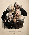 Five decrepit doctors crushed together in consultation. Colo Wellcome V0011712.jpg