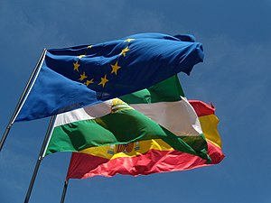 English: Flags of Europe, Andalusia and Spain ...
