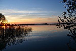 Fleesensee - Fleesensee. Mecklenburg Lake District, Germany at sunset