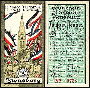 50 Pfennig Notgeld banknote of Flensburg (1921), the banknote depicts the plebiscit on March 14, 1920, in which it was decided that Flensburg remained part of Germany.