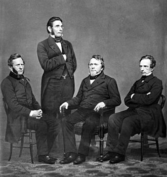 Harper (publisher) - Group portrait of the four Harper brothers by Mathew Brady, c. 1860.  Left to right: Fletcher, James, John, and Joseph
