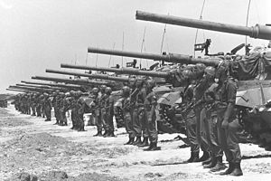 Waiting period (Six-Day War) - Israeli armored unit stands in the Negev