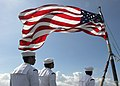 Flickr - Official U.S. Navy Imagery - A color guard lowers the national ensign..jpg