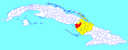 Florida municipality (red) within Camagüey Province (yellow) and Cuba