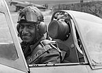 Flying Officer P C Ramachandran AFC, of the Indian Air Force, in the cockpit of a Spitfire prior to a test flight in 1942. D9503.jpg