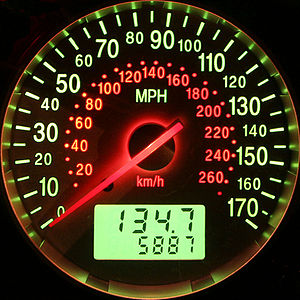 "Speedometer - A speedometer showing mph and km/h along with an odometer and a separate ""trip"" odometer (both showing distance traveled in miles)."