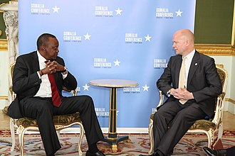 Kenya–United Kingdom relations - President Uhuru Kenyatta with British Foreign Secretary William Hague at an international conference in London (May 2013)