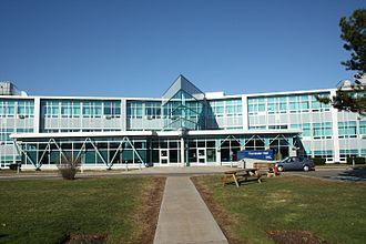 Nova Scotia Teachers College - Forrester Hall at the former Nova Scotia Teachers College campus, displaying post-1997 Nova Scotia Community College signage.