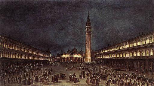 Francesco Guardi - Nighttime Procession in Piazza San Marco - WGA10833