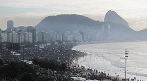 World Youth Day 2013 - Believers all along Copacabana beach, with the Sugarloaf in the background