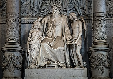 Frari (Venice) nave right - Monument of Titian - Statues.jpg