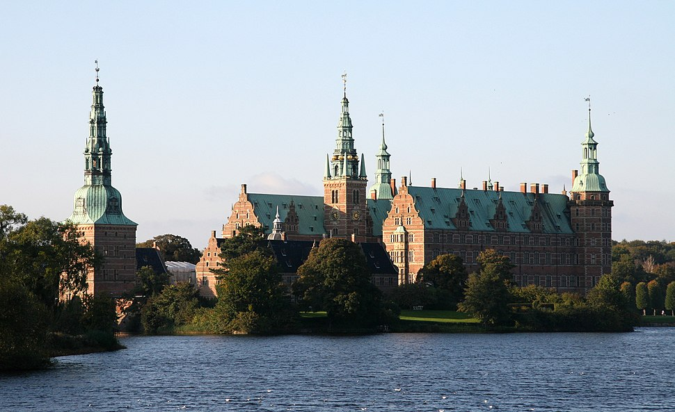 Frederiksborg Slot Hilleroed Denmark viewed from townsquare