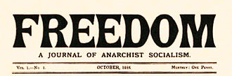 Freedom (newspaper) - 1886 front page