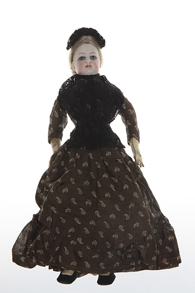 File:French Fashion Bisque Doll with Brown and White Paisley Dress.jpg