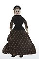 French Fashion Bisque Doll with Brown and White Paisley Dress.jpg