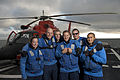 From left, U.S. Coast Guard Seaman Laura Roesch, Petty Officer 2nd Class James Claude, Seaman Kevin Dunstan, Petty Officer 3rd Class Jason King, Seaman Harrison Bullard and Seaman Leon Chingcuangco pose for 120902-G-VS714-485.jpg