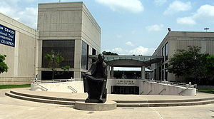 University of Houston Law Center - The O'Quinn Law Library entrance (center) and Bates Law Building (right)