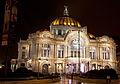 Frontal view of Palacio de Bellas Artes at night.jpg