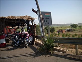 Foreign relations of Niger - The road border entering Niger from Benin at Gaya.  Niger relies on its neighbors, especially Benin and Nigeria for seaports which provide access to world markets.
