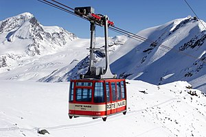 Cable car - Cable car in Rote Nase, Swiss Alps