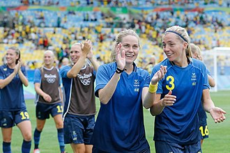 Sweden women's national football team - Sweden celebrate after the semi final victory against Brazil at the 2016 Summer Olympics.