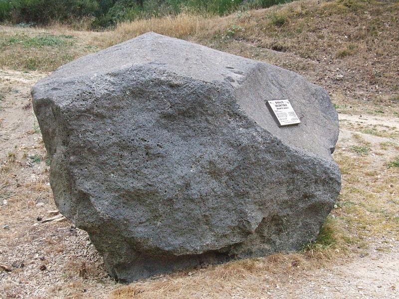 The Géoscope at the motorway service station, La Lozère, displays a collection of rocks found in Lozère. Each has a description.     Doleritic Basalt  Provenance:Bouzentes, Cantal