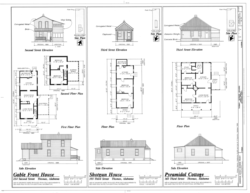 File gable front house shotgun house and pyramidal for Shotgun floor plans
