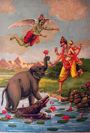 Moksha - Gajendra Moksha (pictured) is a symbolic tale in Vaishnavism. The elephant Gajendra enters a lake where a crocodile Huhu clutches his leg and becomes his suffering. Despite his pain, he constantly remembers God Vishnu. God liberates him. Gajendra symbolically represents man, Huhu represents sins and the lake is saṃsāra.
