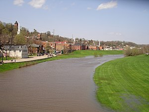 Galena River flowing through downtown Galena, ...