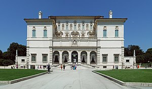 Facade of the museum Galleria Borghese in Rome...
