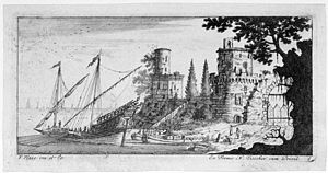 Action of 14 June 1742 - Galley lying near a castle, by Francis Place
