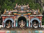 Ganesha Saraswati Lakshmi in Hindu Temple Malaysia.jpg