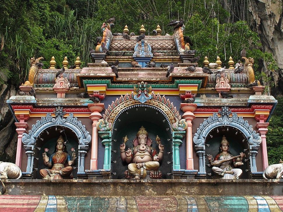 Ganesha Saraswati Lakshmi in Hindu Temple Malaysia
