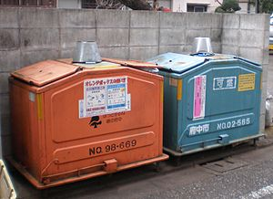 Waste sorting - Garbage containers in Fuchū, Tokyo, Japan