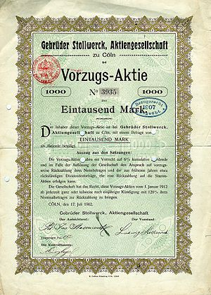 Stollwerck - Preferred share of the Gebrüder Stollwerck AG, issued 17. July 1902